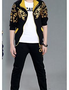tanie Odzież dla chłopców-Komplet odzieży Bawełna Poliester Dla chłopców Codzienny Jendolity kolor Wiosna Długi rękaw Urocza Black Navy Blue
