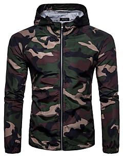お買い得  メンズジャケット&コート-男性の毎日のスポーツボイル&シース軍用春夏レギュラージャケット、カモフラージュフード付きポリエステル