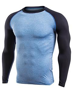 billige Løbetøj-Herre Løbe-T-shirt Langærmet Hurtigtørrende, Åndbarhed T-Shirt for Træning & Fitness Polyester Grå / Bule / Sort / Mørkegrå XXL / XXXL /