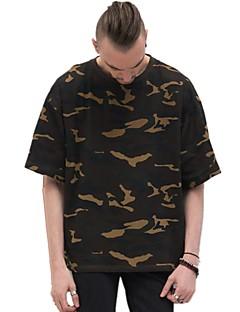 お買い得  メンズTシャツ&タンクトップ-男性用 Tシャツ 活発的 ベーシック 水玉 ストライプ カモフラージュ