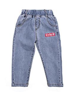 billige Jeans til drenge-Ensfarvet Pigens Daglig Polyester Forår Sommer Kjole Gade Sort Lyseblå