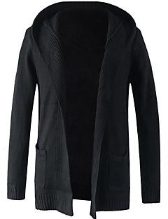 tanie Męskie swetry i swetry rozpinane-Męskie Prosty Kaptur Długi Rozpinany - Nadruk, Solid Color Długi rękaw