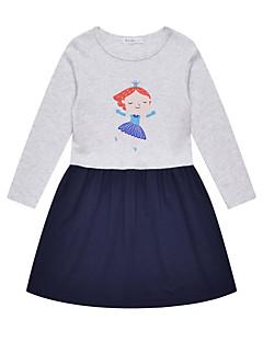tanie Odzież dla dziewczynek-Sukienka Bawełna Len Włókno bambusowe Akryl Dziewczyny Codzienny Jendolity kolor Wiosna Długi rękaw Prosty Vintage Gray
