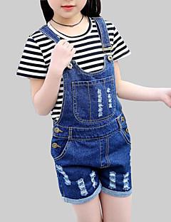 billige Bukser og leggings til piger-Pige Jeans Daglig Ensfarvet, Rayon Sommer Kortærmet Afslappet Blå