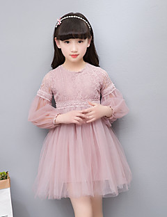 cheap Girls' Long Sleeves Dresses-Kids Girls' Simple / Vintage / Basic Party / Daily Solid Colored / Jacquard Lace / Embroidered Long Sleeve Cotton / Acrylic / Polyester Dress White