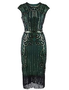 Χαμηλού Κόστους Κοστούμια μεταμφίεσης-Υπέροχος Γκάτσμπυ Δεκαετία του 1920 Στολές Γυναικεία Φανελάκι φόρεμα Μαύρο+Ασημί / Μπλε / Μαύρο / Κόκκινο Πεπαλαιωμένο Cosplay Πολυεστέρας Αμάνικο Κάτω από το γόνατο Κοστούμια Halloween / Πούλιες