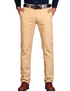 お買い得  メンズファッション&ウェア-男性用 コットン チノパン パンツ - リベット, ソリッド