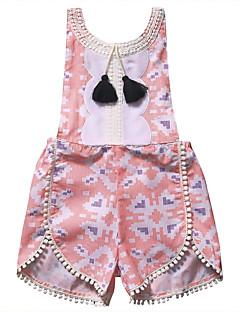 billige Pigetoppe-Pige I-byen-tøj Ferie Jacquard Vævning Bluse, Modal Forår Sommer Uden ærmer Sødt Aktiv Grøn Hvid Lyserød