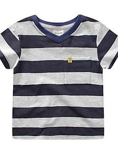 tanie Odzież dla chłopców-Dla chłopców Codzienny Prążki T-shirt, Poliester Wiosna Lato Krótki rękaw Moda miejska Niebieski Czerwony Granatowy
