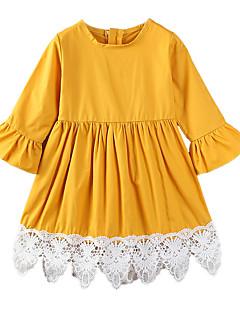 billige Pigekjoler-Pigens Kjole Daglig I-byen-tøj Ensfarvet Patchwork, Bomuld Polyester Forår Sommer Simple Afslappet Gul