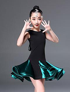 tanie Dziecięca odzież do tańca-Taniec latynoamerykański Suknie Szkolenie Poliester Materiały łączone Bez rękawów Wysoki Ubierać