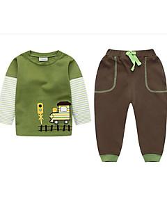 billige Tøjsæt til drenge-Drenge Daglig Ensfarvet Tøjsæt, Bomuld Hør Bambus Fiber Akryl Forår Langærmet Aktiv Grøn