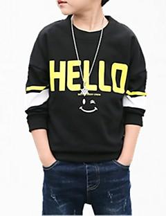 billige Hættetrøjer og sweatshirts til drenge-Drenge Hættetrøje og sweatshirt Blomstret, Bomuld Forår Simple Sort