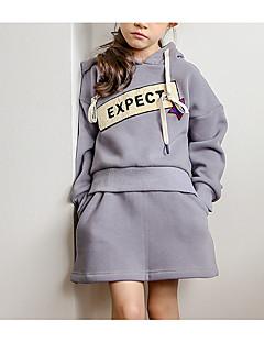 billige Tøjsæt til piger-Pige Tøjsæt Daglig Ferie Geometrisk, Polyester Forår Langærmet Simple Grå