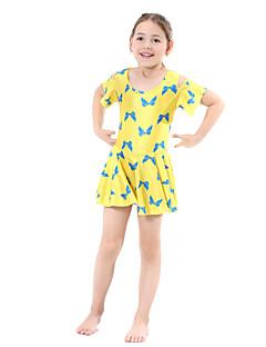 billige Badetøj til piger-Pige Boheme Blomstret Badetøj, Polyester Nylon Spandex Kort Ærme Sort Gul