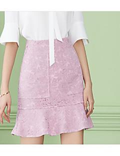 お買い得  レディーススカート-女性用 プラスサイズ ヴィンテージ ボディコン コットン スカート - ソリッド, プリーツ