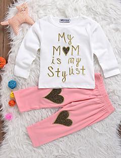 billige Sett med babyklær-Baby Pige Tøjsæt Daglig Trykt mønster, Bomuld Spandex Forår Sommer Langærmet Simple Hvid