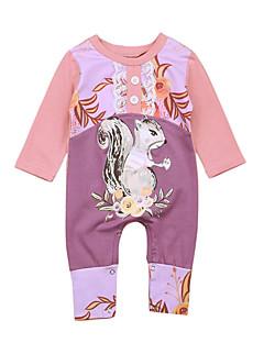 billige Babytøj-Baby Pige En del Daglig I-byen-tøj Ensfarvet Trykt mønster Dyretryk, Bomuld Forår Sommer Halvlange ærmer Simple Sødt Lyserød