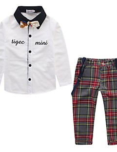 tanie Odzież dla chłopców-Komplet odzieży Bawełna Akryl Poliester Dla chłopców Codzienny Wyjściowe Kratka Patchwork Wiosna Lato Długi rękaw Prosty Na co dzień
