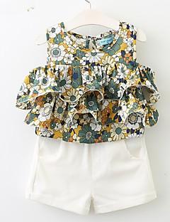 billige Tøjsæt til piger-Pige Tøjsæt Daglig I-byen-tøj Ensfarvet Blomstret Trykt mønster, Bomuld Akryl Polyester Forår Sommer Uden ærmer Vintage Aktiv Hvid