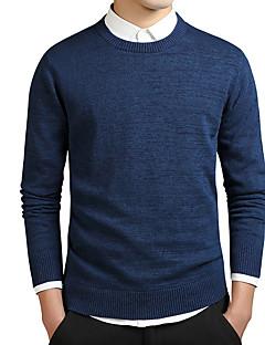 tanie Męskie swetry i swetry rozpinane-Męskie Okrągły dekolt Długi Pulower Solid Color
