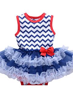 tanie Odzież dla dziewczynek-Dla dziewczynek Codzienny Geometryczny Garnitur / marynarka, Bawełna Poliester Lato Bez rękawów Urocza Aktywny Light Blue