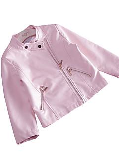 tanie Odzież dla dziewczynek-Dla dziewczynek Codzienny Jendolity kolor Kurtka / płaszcz, Poliwęglan Wiosna Długi rękaw Urocza Blushing Pink