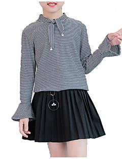 billige Pigetoppe-Pige Daglig Ensfarvet Stribet Skjorte, Bomuld Polyester Forår Efterår Langærmet Simple Afslappet Hvid Sort Navyblå