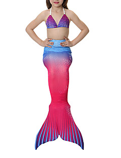 cheap Halloween & Carnival Costumes-The Little Mermaid Bikini Swimwear Kid's Girls' Halloween Carnival Festival / Holiday Halloween Costumes Blue Pink Yellow+Blue