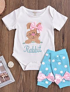billige Babytøj-Baby Pige Tøjsæt Daglig Dyretryk, Bomuld Spandex Forår Sommer Kortærmet Aktiv Hvid