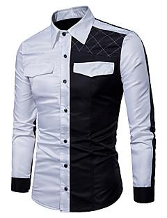 billige Plus Størrelser-Herre-Herre - Ensfarvet Bomuld Kineseri Skjorte Sort og hvid / Langærmet