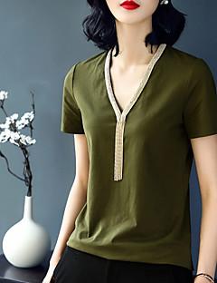 Χαμηλού Κόστους XSSL-Γυναικεία T-shirt Μονόχρωμο Λαιμόκοψη V