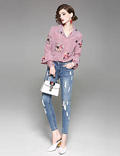 billige Dametopper-Lanterne Erme Tynn Skjortekrage Skjorte - Blomstret Dame
