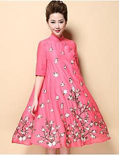 Χαμηλού Κόστους UNE FLEUR-Γυναικεία Κινεζικό στυλ Θήκη Φόρεμα - Φλοράλ, Κεντητό Όρθιος Γιακάς