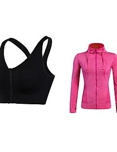 billige Løbetøj-Dame Aktiv beklædning sæt - Grøn, Blå, Grå Sport Ensfarvet SportsBH'er / Hattetrøje Fitness, Jogging Langærmet Sportstøj Åndbarhed Elastisk