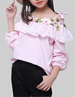 tanie Odzież dla dziewczynek-Bluzka Rayon Dla dziewczynek Codzienny Kwiaty Wiosna Jesień Długi rękaw Na co dzień White Blushing Pink
