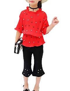 billige Tøjsæt til piger-Pige Daglig Ferie Ensfarvet Tøjsæt, Bomuld Polyester Sommer Halvlange ærmer Aktiv Basale Rød Lyserød
