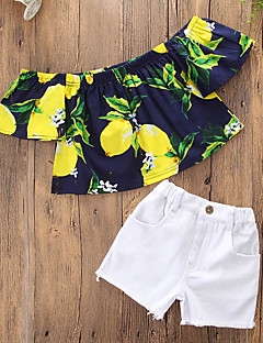 billige Tøjsæt til piger-Pige Tøjsæt Daglig I-byen-tøj Trykt mønster, Bomuld Polyester Sommer Kortærmet Sødt Afslappet Hvid