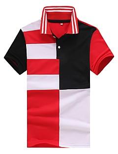 お買い得  メンズポロシャツ-男性用 フロントクロス パッチワーク Polo シャツカラー スリム カラーブロック 虹色 コットン