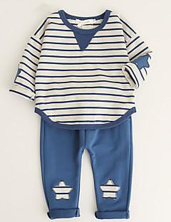 billige Tøjsæt til drenge-Unisex Tøjsæt Daglig I-byen-tøj Ensfarvet Stribet, Bomuld Akryl Forår Sommer Kortærmet Simple Afslappet Blå Sort