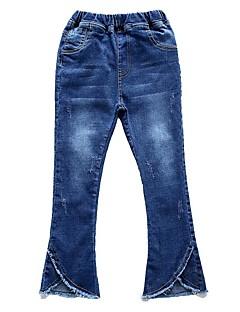 billige Bukser og leggings til piger-Ensfarvet Pigens Daglig Ferie Bomuld Polyester Forår Efterår Uden ærmer Kjole Basale Blå