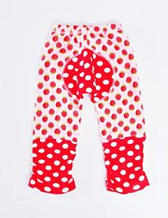 billige Bukser og leggings til piger-Pige Bukser Daglig Ferie Prikker Stribet, Bomuld Polyester Forår Efterår Langærmet Aktiv Rød Lyserød Army Grøn
