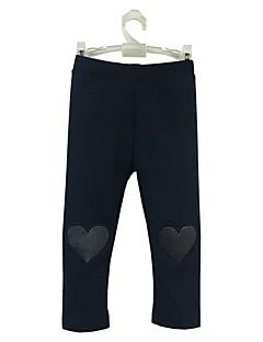 billige Bukser og leggings til piger-Pige Bukser Daglig Sport Ensfarvet, Bomuld Forår Efterår Langærmet Simple Afslappet Marineblå