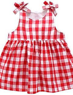 billige Babykjoler-Baby Pigens Kjole Daglig Ternet, Polyester Forår Uden ærmer Basale Rød Navyblå Lyseblå