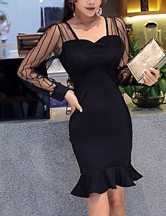 Χαμηλού Κόστους Art of Transparency-Γυναικεία Πολύ στενό Εφαρμοστό Φόρεμα - Συμπαγές Χρώμα, Δίχτυ Βαθύ U