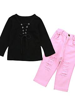 billige Tøjsæt til piger-Pige Fest Ferie Ensfarvet Tøjsæt, Bomuld Akryl Forår Sommer Langærmet Vintage Sødt Lyserød