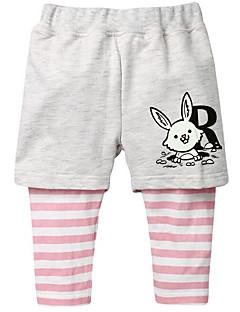 billige Babyunderdele-Baby Unisex Bukser Daglig Stribet, Polyester Forår Uden ærmer Basale Lyserød Gul