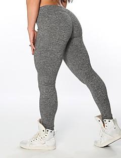 billige Løbetøj-Dame 3D / Ruched Butt Lifting Yoga bukser - Sort, Mørkegrå, Lysegrå Sport Helfarve Tights Løb, Fitness, Træningscenter Sportstøj Åndbart, Hurtigtørrende Elastisk