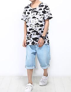 billige Tøjsæt til drenge-Drenge Tøjsæt Daglig Ferie Trykt mønster, Bomuld Polyester Spandex Sommer Kortærmet Aktiv Lysegrå