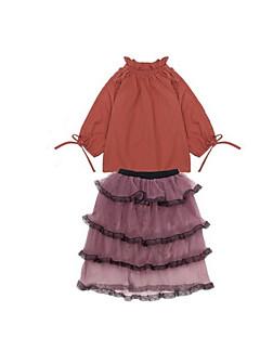 tanie Odzież dla dziewczynek-Sukienka Bawełna Dziewczyny Codzienny Urlop Wielokolorowa Wiosna Długi rękaw Prosty Aktywny White Wine